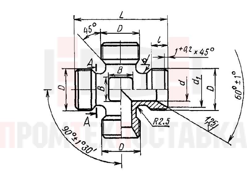 ГОСТ 16065-70 Крестовины проходные для соединений трубопроводов по внутреннему конусу