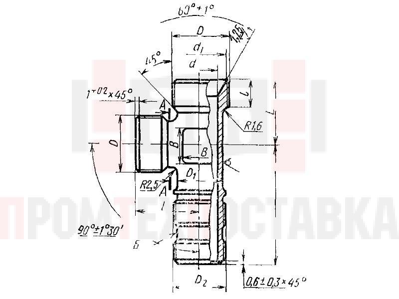 ГОСТ 16075-70 Тройники ввертные несимметричные для соединений трубопроводов по внутреннему конусу