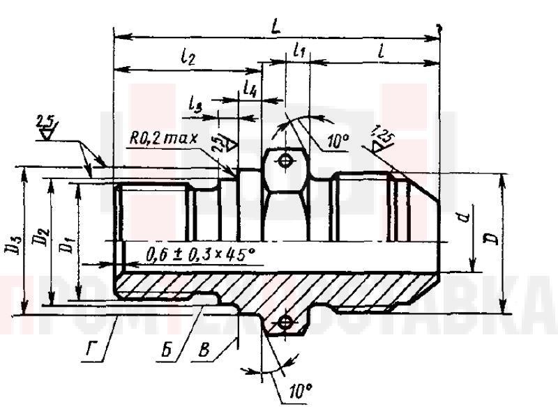 ГОСТ 20194-74 Проходники ввертные под металлическое уплотнение для соединений трубопроводов по наружному конусу