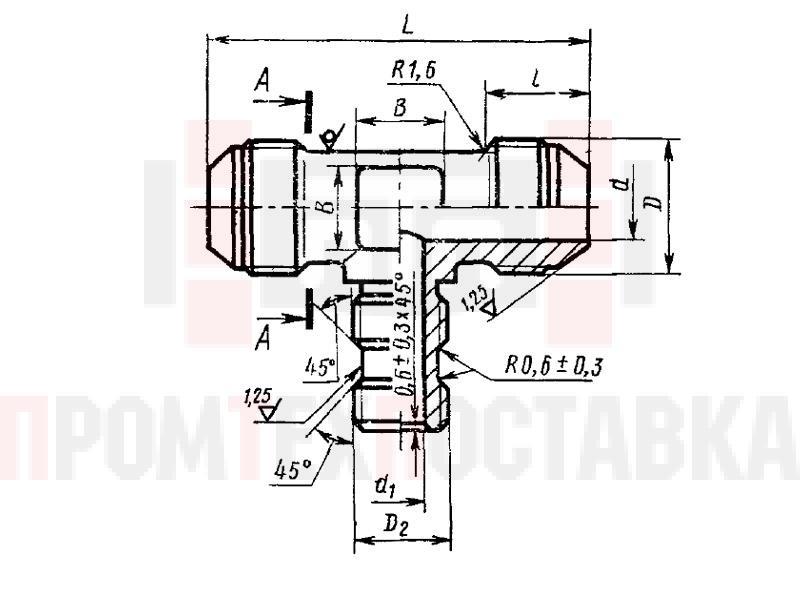 ГОСТ 20200-74 Тройники ввертные переходные под резиновое уплотнение для соединений трубопроводов по наружному конусу