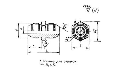 ГОСТ 13959-74 Проходники прямые для соединений трубопроводов по наружному конусу. Конструкция и размеры