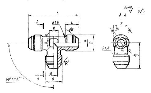ГОСТ 13964-74 Тройники проходные для соединений трубопроводов по наружному конусу. Конструкция и размеры