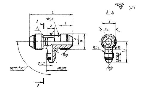 ГОСТ 13965-74 Тройники переходные для соединений трубопроводов по наружному конусу. Конструкция и размеры-2