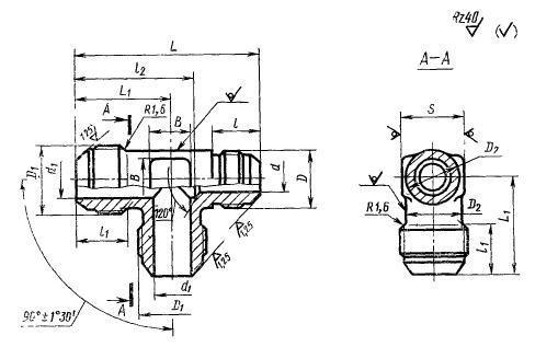 ГОСТ 13965-74 Тройники переходные для соединений трубопроводов по наружному конусу. Конструкция и размеры-4