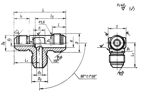 ГОСТ 13965-74 Тройники переходные для соединений трубопроводов по наружному конусу. Конструкция и размеры-5