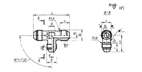 ГОСТ 13965-74 Тройники переходные для соединений трубопроводов по наружному конусу. Конструкция и размеры
