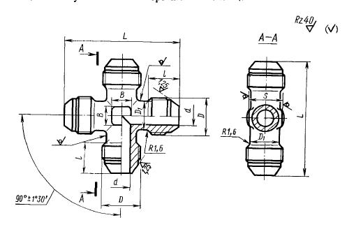 ГОСТ 13967-74 Крестовины проходные для соединений трубопроводов по наружному конусу. Конструкция и размеры