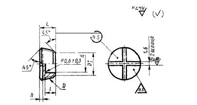 ГОСТ 13974-74 Заглушки гнезд под ввертную арматуру для соединений трубопроводов по наружному конусу. Конструкция и размеры-2