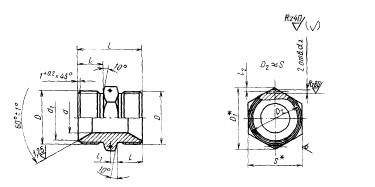 ГОСТ 16049-70 Проходники прямые для соединений трубопроводов по внутреннему конусу. Конструкция и размеры