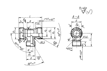 ГОСТ 16059-70 Тройники переходные для соединений трубопроводов по внутреннему конусу. Конструкция и размеры