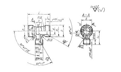 ГОСТ 16060-70 Тройники переходные с диаметром резьбы 14 мм на среднем штуцере для соединений трубопроводов по внутреннему конусу. Конструкция и размеры
