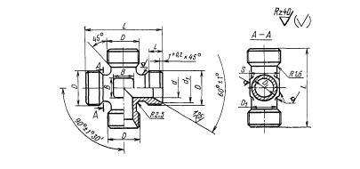 ГОСТ 16065-70 Крестовины проходные для соединений трубопроводов по внутреннему конусу. Конструкция и размеры