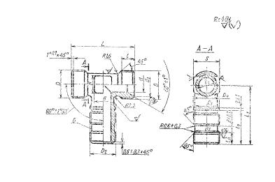 ГОСТ 16074-70 Тройники ввертные для соединений трубопроводов по внутреннему конусу. Конструкция и размеры
