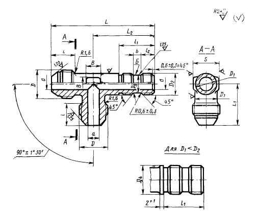 ГОСТ 20199-74 Тройники ввертные под резиновое уплотнение для соединений трубопроводов по наружному конусу. Конструкция и размеры-2